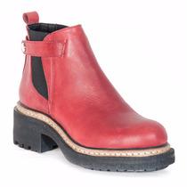Bota Cuero Bordo Mujer Nazaria Zapatos P119