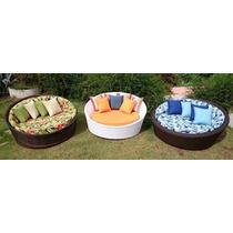 Chaise Sofa Redondo Para Decoração Em Fibra Sintetica Jardim