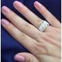 Anel Feminino Prata 950 Ouro Maciço Pedras Naturais De Luxo
