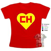 Camiseta Baby Look Chapolim Colorado Feminina 100% Algodão