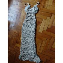 Hermoso Vestido Sirena Largo Tejido A Mano Crochet