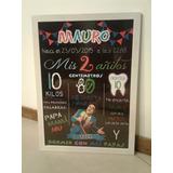 Pizarras En Marco, Cartel Para Bautismo, Cumpleaños $550