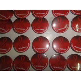Boton Campanha Combate Aids Dezembro Vermelho 2,5 Cm 4 Unid