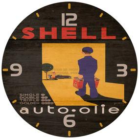 Relógio Parede Clássico Vintage Moto Carro Posto Shell