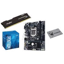 Kit Pentium G4400 3.3ghz, Placa Mãe H110m-h, 4gb Ddr4 120gb