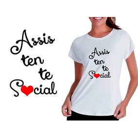 Camiseta Camisa T-shirt Babylook Assistente Social Profissão