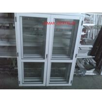Puerta De Aluminio Doble 1,50 X 2,00 Vidrio Colocado