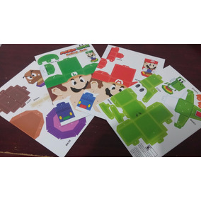 4 Figuras Carton Armar Mario Y Luigi Paper Jam Ishi