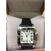 Relógio A5957 Cartier Santos100 Prata Branco 12x S/j