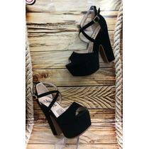 Sandalia Tacon Color Negro Moda Señora Calzado Zapato Mujer