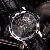 Relógio Masculino Winner Transparente De Corda