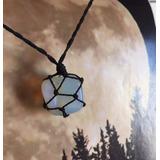 Colar Pedra Da Lua (opalina) Hippie Castroada C/ Fio Cru