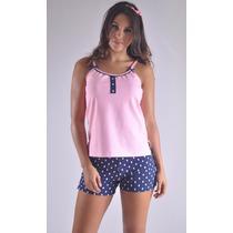 Pijama Short Franela Blusa Tiras Fresca Y Femenina F8892