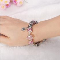 Pulseira Bracelete Banhado Prata 925 Com Beads