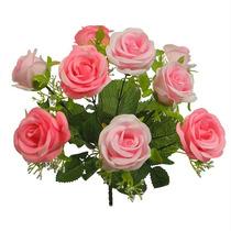 Buquê De Rosa X9 Cores Sortidas 38cm(03509) Flor Artificial