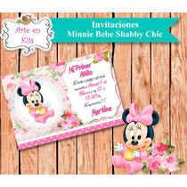 Tarjetas Invitaciones Minnie Bebe Shabby Chic X10u De 10x15