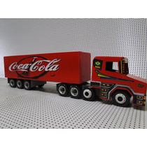 Mini Caminhão Carreta Bau Scania Cocacola Madeira Bitrem