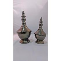 Conjunto Vaso Pote Prata Cerâmica Com Tampa Decorativo