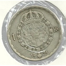 Suecia 1 Kroner 1944 Plata