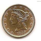 Moneda De Oro 5 Dolares 1899