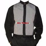 Camisa Masculina Gola De Padre Preta C/ Detalhes
