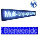 Cartel Pasamensajes Letrero Led Programable Blanco - Azul