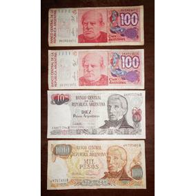Lote De 4 Billetes Australes Y Pesos Argentinos Circulados