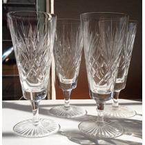 Antiguo Juego De Copas Talladas De Cristal Para Champagne
