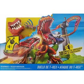 Hot Wheels Pista Ataque Do T Rex Mattel Diversos Sons