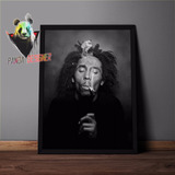 Quadro Bob Marley Reggae Poster Musica Jah Rasta Com Vidro