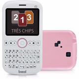 Freecel Triplesim Rosa, 3 Chips, Bluetooth Original Vitrine