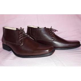 Zapato Botin Hombre Cafè 100% Cuero Antideslizante 41