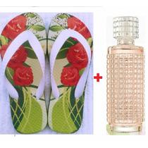 Kit Presente Mãe Vó Amiga Namorada Chinelo + Perfume Colônia