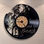 A Bela E A Fera Disney - Relógio De Parede - Disco De Vinil