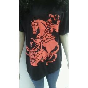 Camiseta Orixá - São Jorge - Manga Curta - Preta