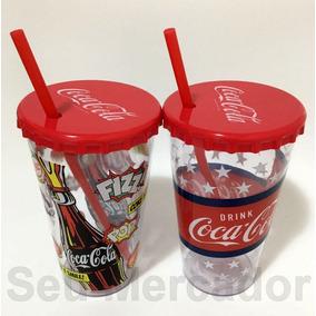 Kit 2 Copos Coca-cola Oficial Com Canudos E Tampa De Garrafa