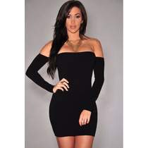 Moda Sexy Mini Vestido Negro Strapless Mangas Table Dance