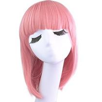 Pink Bob Peluca Recta 36cm Cabello Corto, Casquillo De La