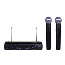 Microfone Duplo Uhf Sem Fio Profissional Para Karaokê