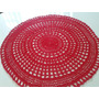 Toalha De Mesa Redonda Crochê Vermelha Linha 58 Cms Oferta