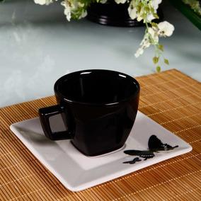 Aparelho De Chá Preto E Branco De Porcelana Modelo Quadrado