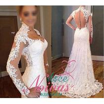 Pronta Entrega Vestido Noiva Manga Longa Cauda Justo Sereia