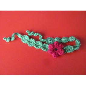 Vincha Tejida Al Crochet Con Aplique De Flor