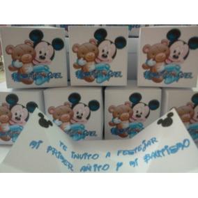 Invitacion Mickey Bebe Cajita Con Foto *oferta*
