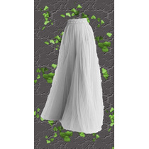 Falda - Pollera Voile/raso Vestir Fiesta Cintura Elastizada