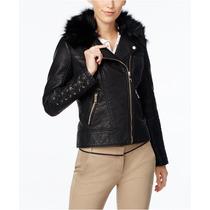 Chamarra-chaqueta Para Mujer Guess Negra -moto- Original