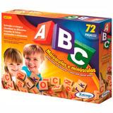 Brinquedo Pedagógico Madeira Abc Alfabeto Letras 72 Peças