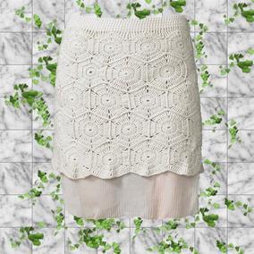 Falda Tejida Crochet Con Forro Y Gasa