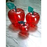 Set De 3 Potes De Manzanas Acrilicas.