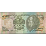 Uruguay 100 Nuevos Pesos Nd1987 Serie G P62a